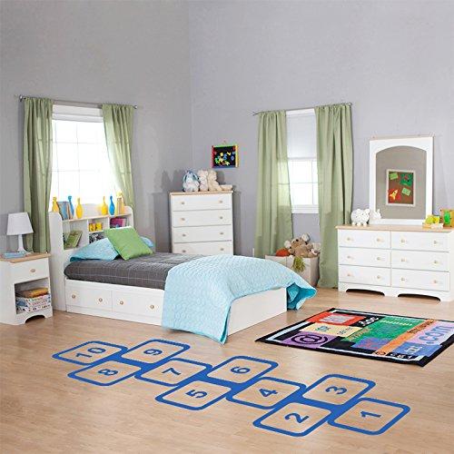 Winhappyhome Kids Game Hopscotch GroßE Muster Wand Aufkleber für Kinder Schlafzimmer Wohnzimmer Kinderzimmer Boden Home Decor Removable Abziehbilder (Blau)