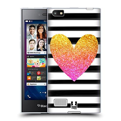 Head Case Designs Herz Streifen Glitzernd Lifestyle Soft Gel Hülle für BlackBerry Leap