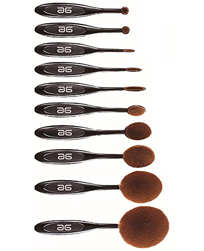 Coffret 10 brosses ovales de maquillage
