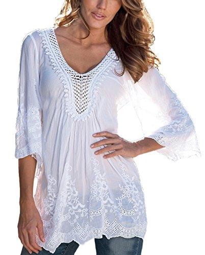 4608baf32de3 Bluse Damen Elegant Mit Spitze 3 4 Ärmel V Ausschnitt Einfarbig Uni-Farben  Vintage Hippie Mode Casual Sommer Blusenshirt Shirt Oberteile Top