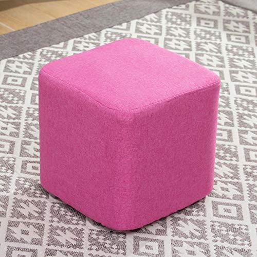 Velliceasay Design Hocker,Stoff Hocker Sofa ändern Schuhbank kleinen quadratischen Hocker Couchtisch Hocker Massivholz Hocker Zuhause Wohnzimmer, Schlafzimmer,rosa quadratischen Hocker [29x29]