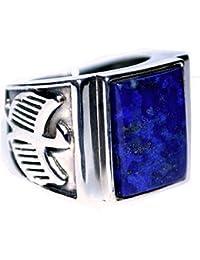 763f5b1dcf297e Hommes Sterling 925 Argent Bleu Lapis hommes Bague, Aigle Logo Aspect  Ancien Marque page Bagues