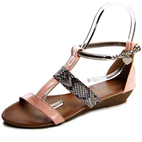 Topschuhe24 516 sandales femme mules à talons compensés Rose - Rose