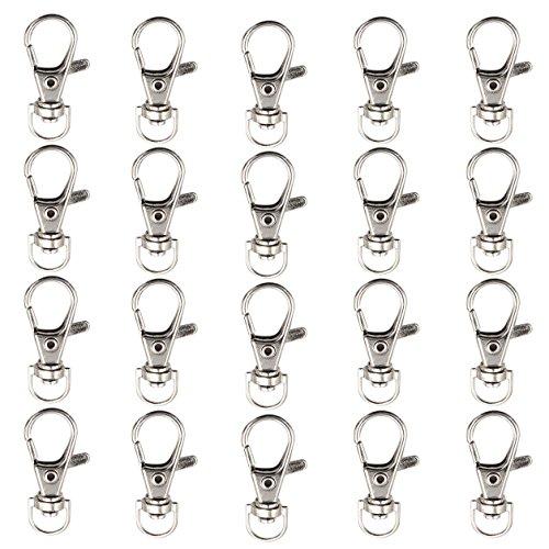 Rosa Bungee-seile (20 Stück 38mm Versilberter Schlüsselbund Anhänger Schlüsselanhänger Karabinerverschlüsse von Kurtzy - 11mm Ösen Durchmesser - Metallverschlüsse für Schmuckherstellung, Schlüsselbunde, Anhänger, Halske)