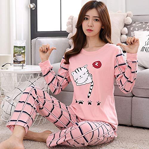 HAOLIEQUAN Cute Women's Pajama Sets Print 2 Pieces Set Shirt Top + Pants Women Pajamas Cotton Plus Size Pajamas Suit for Women Sleepwear,Gezicangweimao Pink,S -