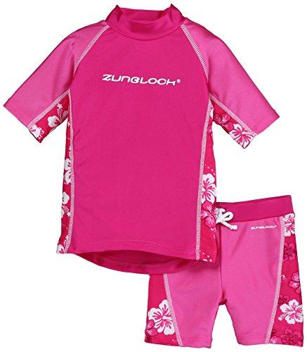 Zunblock Hibiscus Tuta di protezione solare per bambini, a maniche corte e con pantaloncini, Rosso ciliegia/Frullato/Rosso ciliegia, 86/92