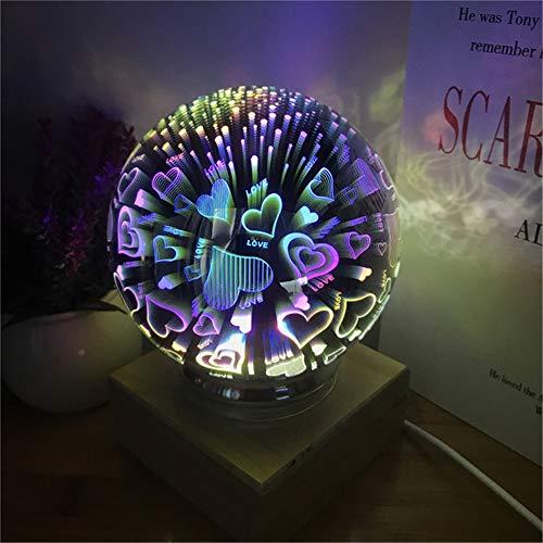 ZCHPDD Rotierende 3D-Glasabdeckung Lampe Holz Bunte Magische Kugel Projektor USB Licht Macht Schlafzimmer Atmosphäre Leuchtende Romantische Geschenk Schwarz, Liebe, 120 * 180 Mm