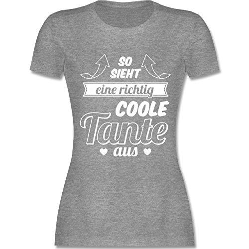 Schwester & Tante – so Sieht Eine Richtig Coole Tante aus – L – Grau Meliert – L191 – Damen T-Shirt Rundhals