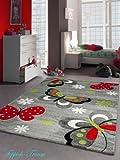 Kinderteppich Spielteppich Schmetterling Design Grau Rot Grün Schwarz Weiss Größe