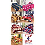 STOP N SHOP Super Home Combo Set Of 7 Grace Cotton King Size Double Bedsheet With 14 Pillow Covers