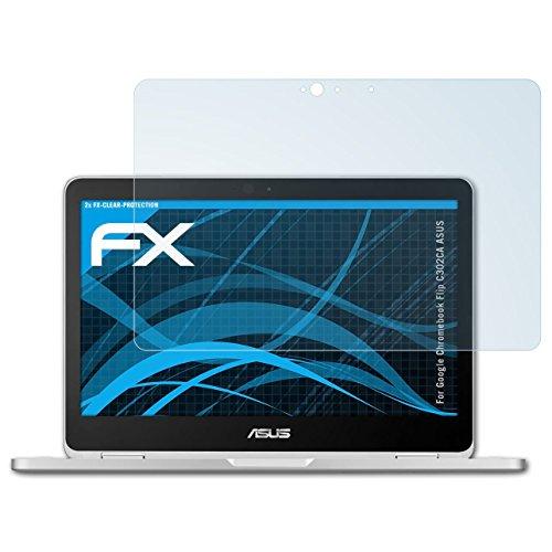 atFolix Schutzfolie kompatibel mit Google Chromebook Flip C302CA ASUS Folie, ultraklare FX Bildschirmschutzfolie (2X)