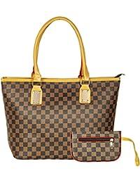 Bazaar Pirates Women Tote Bag, Hand Bag For Women, Checks Printed Tote Bag (Brown)
