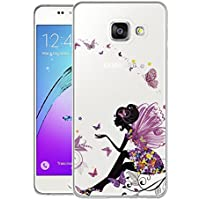 Coque Galaxy A3 2016 , WenJie Rose Fleur Papillon Transparent Ultra Slim Tpu Coque de Protection Etui Silicone Gel Case Shell Housse pour Samsung Galaxy A3 2016 SM-A310