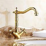 Alle Kupfer - Europäische Wasserhahn antiken Wasserhahn warmes und kaltes Wasser alle Kupfer Wasserhahn im Waschbecken im Bad Armatur Gold Hahn, Standard, Höhe 245 mm