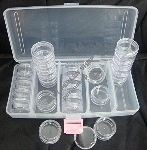 Perlenbox Sortierkiste Sortierbox mit 25 Dosen Bastelzubehör Perlenkasten Nailart box (Großhandel Modeschmuck Top)