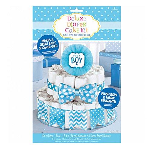 Set de gâteau de couches pour baby shower - Bleu
