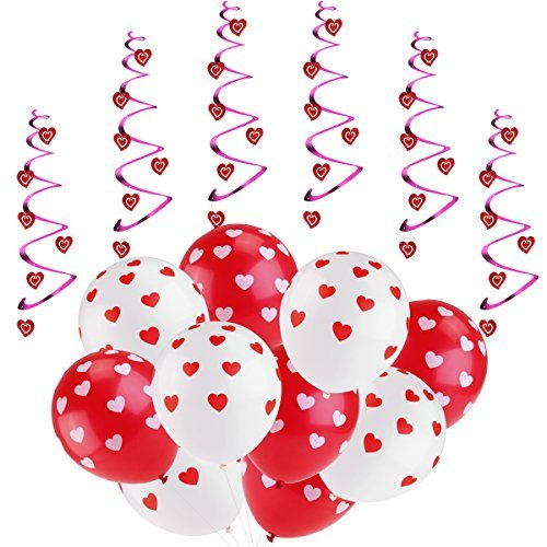 rosenice valentines day balloon decorations 6pcs hanging hearts and 20pcs balloons for wedding birthday bridal shower