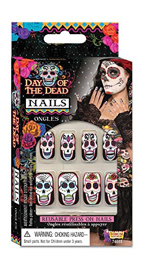 Künstliche Fingernägel Nails Tag Toten Day Of The Dead Style Totenkopf Bunt
