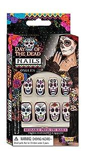 Bristol Novelty Forum Novelties 74688 Day of The Dead Nails, Talla única