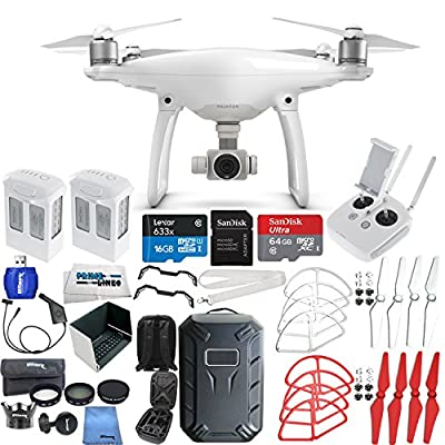 DJI Phantom 4 Quadcopter (Latin America Version) + Additional Intelligent Flight Battery + 64GB Ultra Micro SDXC + 7 Piece Filter Kit + Hard Shell Backpack + Nylon Propellers + Landing Skid & More!