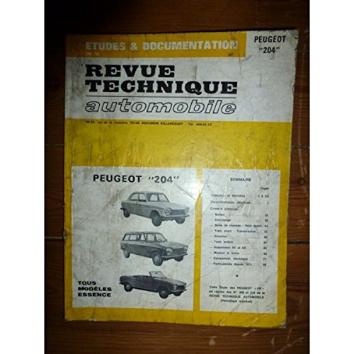 RRTA0308.0 - REVUE TECHNIQUE AUTOMOBILE PEUGEOT 204 Tous modèles essence