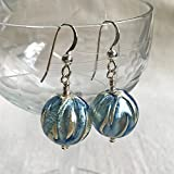 Diana Ingram classic blue with white gold leaf Murano glass sphere (14mm) earrings. [Light blue]