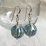 Diana Ingram classic blue with white gold leaf Murano glass sphere (14mm) earrings. [Light blue]