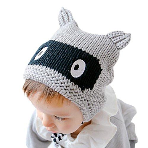 Babybekleidung Hüte & Mützen Longra Winter Blume Kids Baby Kinder Stricken Mütze Jungen Wintermütze Hüte Beanie Hut(42 - 50cm,0-2years) (gray)
