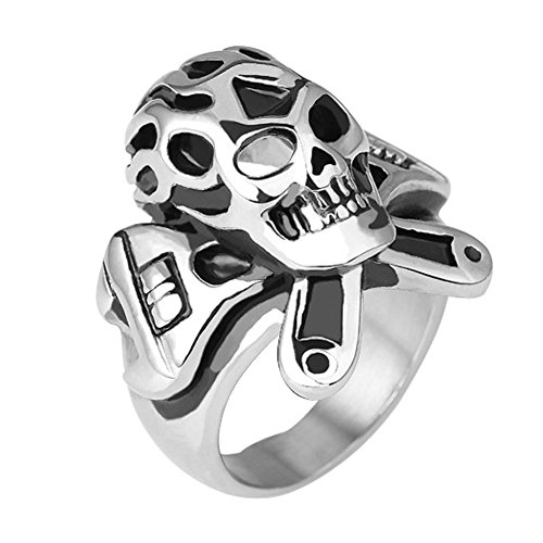 Heyrock Vintage Punk 316L Stainless Steel Rings Highy Polished Skeleton Men Ring Tibetan Gothic Rock Punk Jewelry