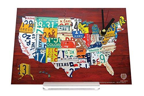 Schreibtischuhr Urlaub Reisebüro USA Nummernschilder Retro Nostalgie