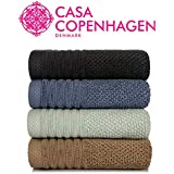 Casa Copenhagen Solitaire 600 GSM 100% Cotton 4 Pcs Hand Towels (17 X 27 Inch) - Slate Blue,Tortilla Brown,Oxford Blue,Smoke Grey