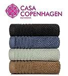 Casa Copenhagen Solitaire 600 GSM 100% Cotton 4 Pcs Hand Towels - Slate Blue,Tortilla Brown,Oxford Blue,Smoke Grey