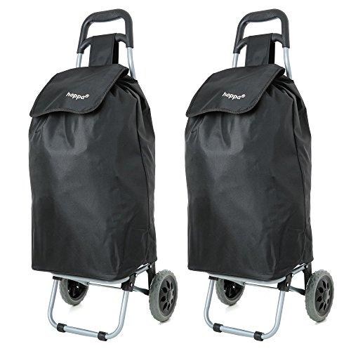 Set bestehend aus 2 Hoppa 23inch 2 Wheel Leichte Wheeled Shopping Trolley Shopper Wagen, Große 47L (Schwarz)