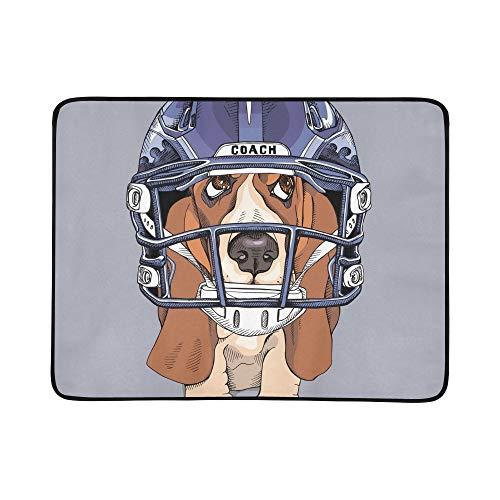 Hound Blue Handegg Helm Tragbare und Faltbare Deckenmatte 60x78 Zoll Handliche Matte für Camping Picknick Strand Indoor Outdoor Reise ()