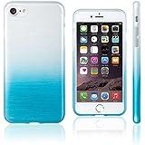Xcessor Transition Couleur - Étui Coque Housse Flexible En Gel TPU Pour Apple iPhone 7. Avec Gradient Fil En Soie La Texture. Bleu Clair / Transparent