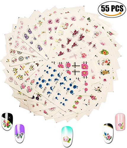 AIUIN 55 Stück Blumenwelt Wasser Aufkleber Nail Art Aufkleber Wasser Transfer Aufkleber Aufkleber Decals Tattoos Beauty Zubehör