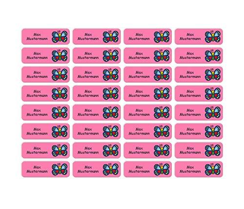 Sunnywall® Namensaufkleber Namen Sticker Aufkleber Sticker 4,8x1,6cm | 60 Stück für Kinder Schule und Kindergarten 38 Hintergründe zur Auswahl (20 Schmetterling)