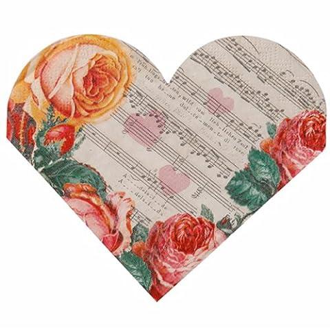 Heart Shaped Napkins x 15 Wedding / Valentines