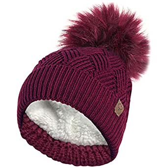 e5e18cf6155 RockJock Ladies Warm Chunky Diamond Cable Knit Hat with Thermal Teddy Fleece  Lining and Detachable Faux