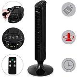 Monzana® Turmventilator 90° Rotation mit Fernbedienung 3 Stufen 84cm Timerfunktion schwarz - Säulenventilator Standventilator Luftkühler Ventilator