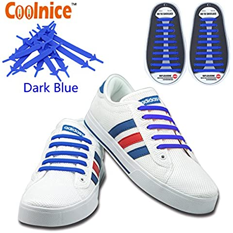 Coolnice No Tie Shoelaces for Adults and Kids DIY 20pcs- Environmentally safe Waterproof Silicon- Color of dark blue