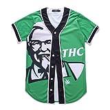 Pizoff Herren T-shirts mit Knopfrundhals Kurzarm-grün Spaß Hip-HopKostüm bequem Kühle lässig unisex Tops Sommerkleidung Y1724-14-XL
