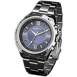 ufengke® casual luminous sport watch,roman numerals waterproof watch for men-blue