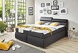 lifestyle4living Boxspringbett 180x200, Grau, Stoff, Kunstleder, mit Bettkasten | Entspannter Schlafen auf Dem Modernen Doppelbett Komplett mit Kopfteil