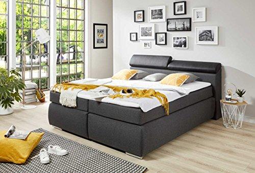 lifestyle4living Boxspringbett 180x200, grau, Stoff, Kunstleder, mit Bettkasten   Entspannter schlafen auf dem modernen Doppelbett komplett mit Kopfteil