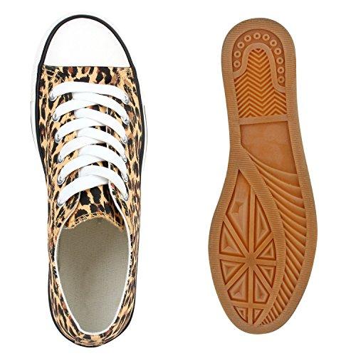 Freizeit Damen Sneakers Low Viele Farben & Größen Canvas Schuhe Leopard