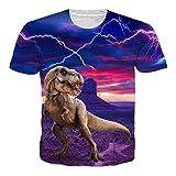 RAISEVERN Dinosaurio Imprimir Camiseta Divertida Hombres Verano Personalizado Casual Top Manga Corta M
