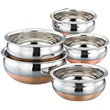 Serving And Cookware Stainless Steel Copper Bottom Handi Set, 5 Piece Set Handi Silver
