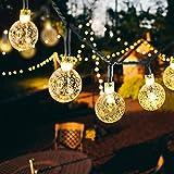 30 LED Solar Lichterkette, Weihnachtsbeleuchtung Beleuchtung Außen mit Kugel 8 Modi Lichtsensor für Party, Außen, Fest Deko (warmweiß)
