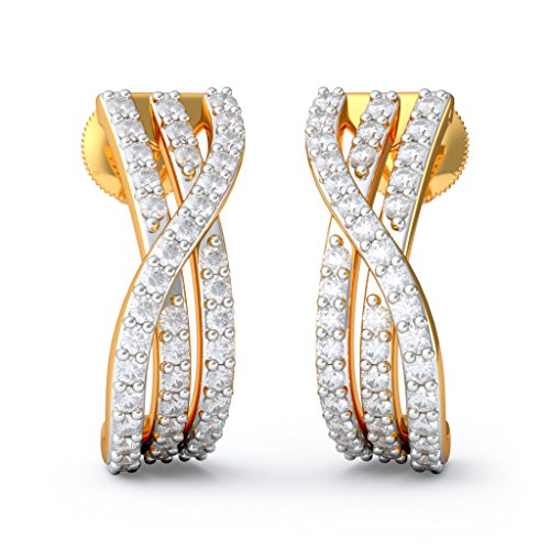 18K oro amarillo 0.63quilates white-diamond (IJ | si) pendientes de aro